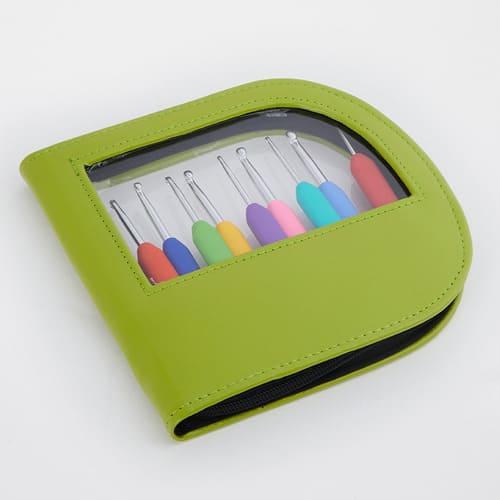 KnitPro Waves Set Verde Neon: uncinetti ergonomici in metallo e gomma in nove misure - Amici di Maglia
