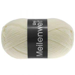 Lana Grossa Meilenweit Uni 100 1113 bianco crudo: filato invernale per calze - Amici di Maglia