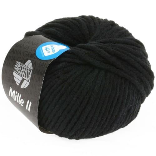 Lana Grossa Mille II 015 nero: filato invernale in lana vergine merino - Amici di Maglia