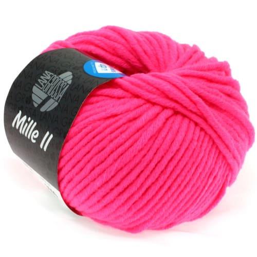 Lana Grossa Mille II neon 502 rosa fluo: filato invernale in lana vergine merino - Amici di Maglia