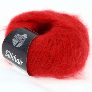 Lana Grossa Silkhair Uni 008 rosso ciliegia: prezioso filato in kid mohair e seta - Amici di Maglia