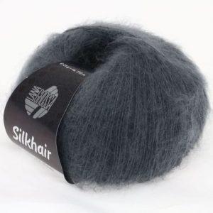 Lana Grossa Silkhair Uni 012 grigio scuro: prezioso filato in kid mohair e seta - Amici di Maglia