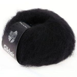 Lana Grossa Silkhair Uni 014 nero: prezioso filato in kid mohair e seta - Amici di Maglia