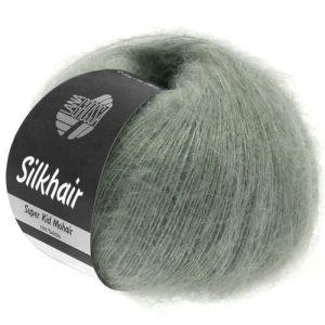Lana Grossa Silkhair Uni 105 grigio verde: prezioso filato in kid mohair e seta - Amici di Maglia