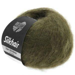 Lana Grossa Silkhair Uni 111 oliva scura: prezioso filato in kid mohair e seta - Amici di Maglia