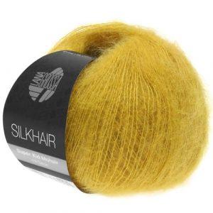 Lana Grossa Silkhair Uni 128 giallo senape: prezioso filato in kid mohair e seta - Amici di Maglia