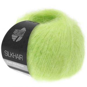 Lana Grossa Silkhair Uni 141 giallo verde: prezioso filato in kid mohair e seta - Amici di Maglia