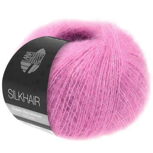 Lana Grossa Silkhair Uni 162 rosa: prezioso filato in kid mohair e seta - Amici di Maglia