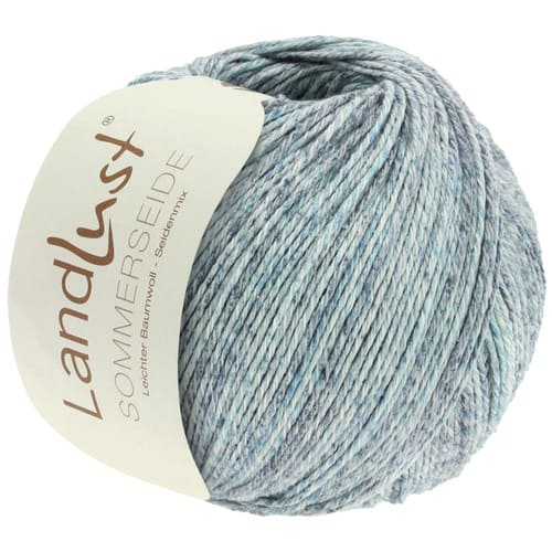 Lana Grossa Landlust Sommerseide 106 grigio blu mélange: filato pregiato in seta e cotone - Amici di Maglia