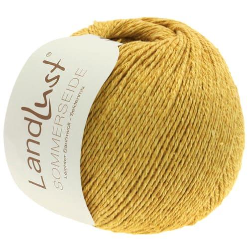 Lana Grossa Landlust Sommerseide 18 giallo dorato: filato pregiato in seta e cotone - Amici di Maglia