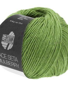 Lana Grossa Lace Seta Mulberry 20 verde chiaro: filato pregiato invernale in baby alpaca, seta Mulberry e lana vergine Merino - Amici di Maglia