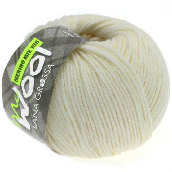 Lana Grossa Mc Wool Merino Mix 130 bianco grezzo: filato invernale in misto lana merino - Amici di Maglia