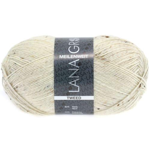 Lana Grossa Meilenweit 100 Tweed 106 naturale screziato: filato invernale per calze in lana vergine - Amici di Maglia