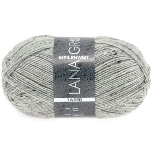 Lana Grossa Meilenweit 100 Tweed 110 grigio screziato: filato invernale per calze in lana vergine - Amici di Maglia