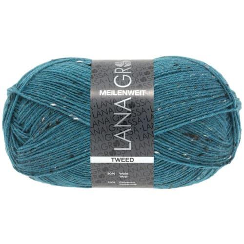 Lana Grossa Meilenweit 100 Tweed 159 petrolio: filato invernale per calze in lana vergine - Amici di Maglia