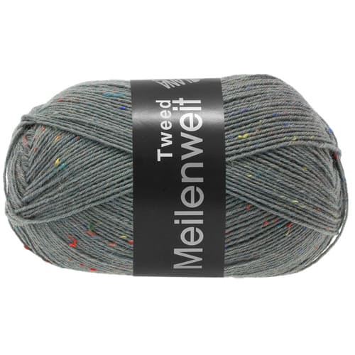 Lana Grossa Meilenweit 100 Tweed 160 grigio scuro: filato invernale per calze in lana vergine - Amici di Maglia