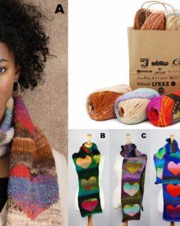 Noro Kureyon Heart Scarf : kit per sciarpa ai ferri con filato Kureyon e modello gratuito - Amici di Maglia