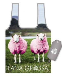 Lana Grossa Borsa Shopper in nylon con stampa di due pecorelle fucsia, mascotte di Lana Grossa - Amici di Maglia