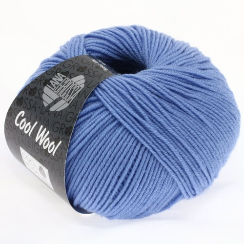 Lana Grossa Cool Wool 473 fiordaliso: morbido filato in pura lana merino perfetto per lavori a uncinetto per bambini e neonati - Amici di Maglia