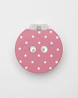 KnitPro Clicky: contagiri a scatto in plastica rosa a pois bianchi per lavori ai ferri e all'uncinetto - Amici di Maglia