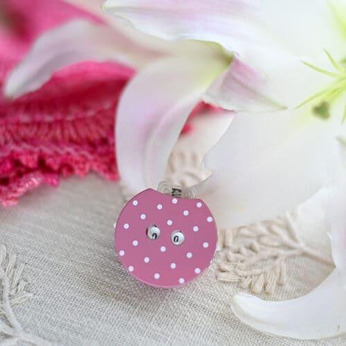 KnitPro Clicky: contagiri a scatto in plastica rosa a pois bianchi per lavori a maglia - Amici di Maglia