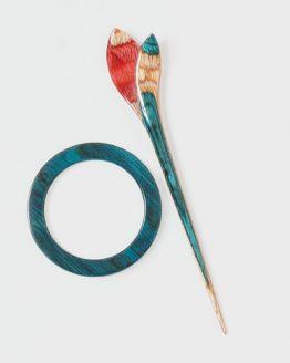 KnitPro Lily: fermascialle in legno di faggio con fibbia a forma di giglio - Amici di Maglia
