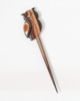 KnitPro Sleepy Owl: spilla ferma scialle in legno di faggio a forma di gufetto - Amici di Maglia